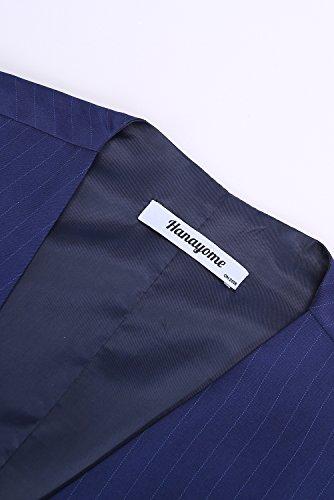Hanayome Mens 3 Pieces Business Suits Slim Fit Stripe Blazer Jacket Vest Pants Set SI137 Blue,48