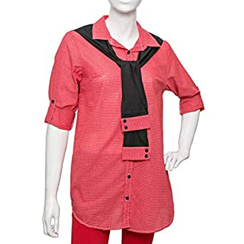 Puanli Red Cotton Shirt Neck Shirts For Women