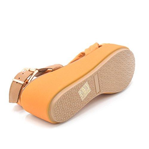 Inuovo sandalo zeppa nuovo pelle arancione zeppa 6,5cm art.5255 sinistra TG. 40