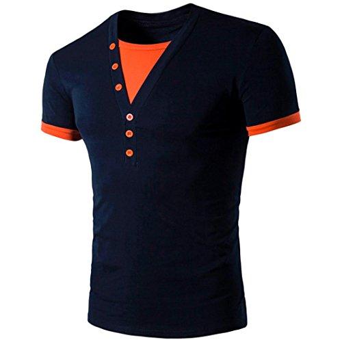 Camiseta Marina OverDose V camiseta corta en hombres empalme para manga cuello moda rqwCrEP