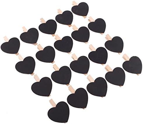 Anladia 20 * 6cm Herz Holztafel mit Klammer Dekoklammer Tafelklammer Holzklammer Platzkarte Pflanzschilder Notiztafel Namensschild Hochzeit Garten
