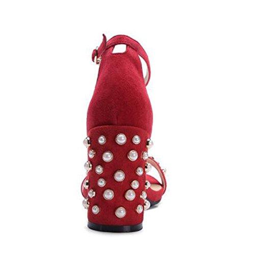 Densamente Sandalias De Los Con Verano Abiertas Altos Zapatos Rojo Friegan xHYqw0nAR0