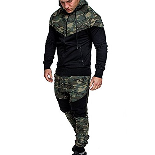 Men's Spring Camouflage Sweatshirt, Top Pants Sets Sports Suit Tracksuit, Sunsee 2019 Man Boy Teen