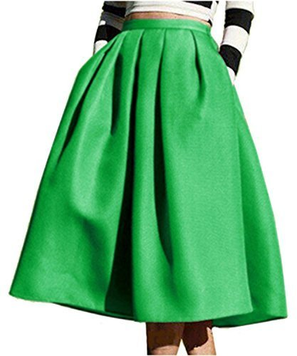 Face N Face Women's High Waisted A line Street Skirt Skater Pleated Full Midi Skirt Medium Green