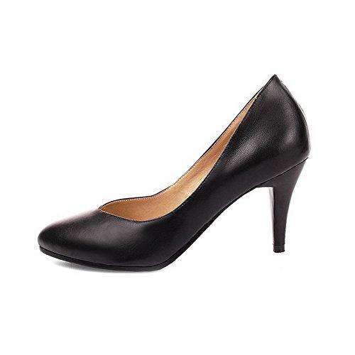 Amoonyfashion Donna Materiale Morbido Chiuso Scarpe A Punta Punte Spuntoni Tirare Su Pompe-scarpe Nere