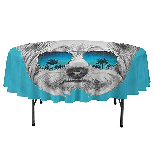 - Yorkie Printed Round Tablecloth Yorkshire Terrier Portrait with Cool Mirror Sunglasses Hand Drawn Cute Animal Art Desktop Protection pad D35 Inch Blue White