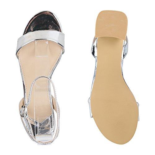 Stiefelparadies Damen Sandaletten Riemchensandaletten Metallic Schuhe Sommer Absatzschuhe Mid Heels Elegante Abendschuhe Abiball Flandell Silber