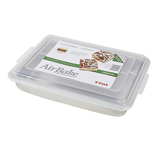 T-fal 84750 AirBake Natural Cake Pan with Cover, 13-inch x 9-inch, Silver image
