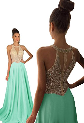 Dressytailor Women's Halter A-line Long Chiffon Prom Dress Beaded Formal Evening Gown Mint Green