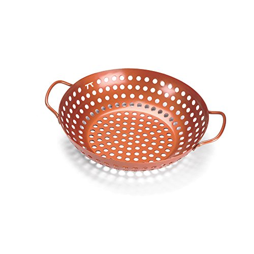 - Outset QN70 Round Grill Wok, Copper Non-Stick