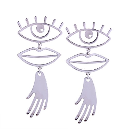 TIDOO Jewelry Funny EYE & LIP & HAND Vintage Hollow Out Human Face Design Gold Silver Earring (Gold Design Earrings)