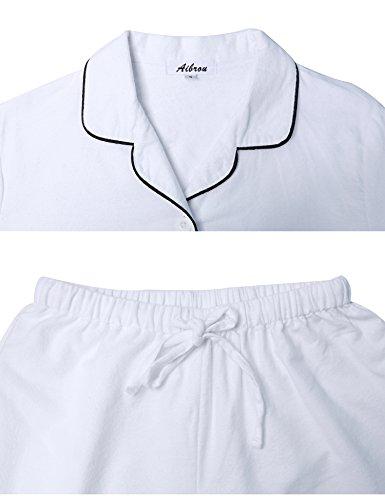 Camicia da Donna Maniche Cotone Pigiama le Aibrou a Notte Tutte White per Sleepwear Lunghe Stagioni Pigiama 0xq4wwp5