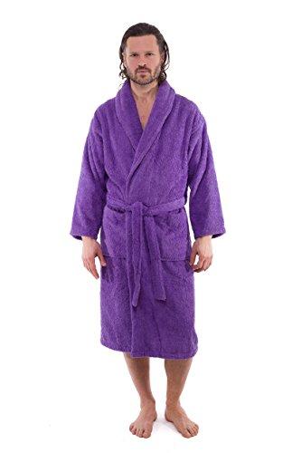 Salbakos brand Luxury Hotel Style Mens Bath Robe 100% Turkish Cotton 550 gsm plush terry cloth (Purple, Large)