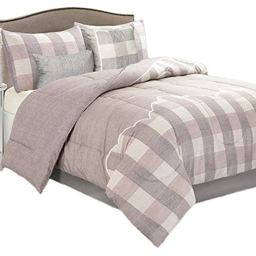 HollyHOME Bed in a Bag Comforter Set Queen Size 5 Pcs Light Grey Checkered Plaid Pattern All Season Comforter ()