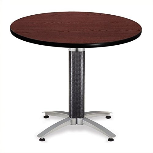 OFM 36'' Multi-Purpose Round Table with Metal Mesh Base, Mahogany (MT36RD-MHGY) by OFM