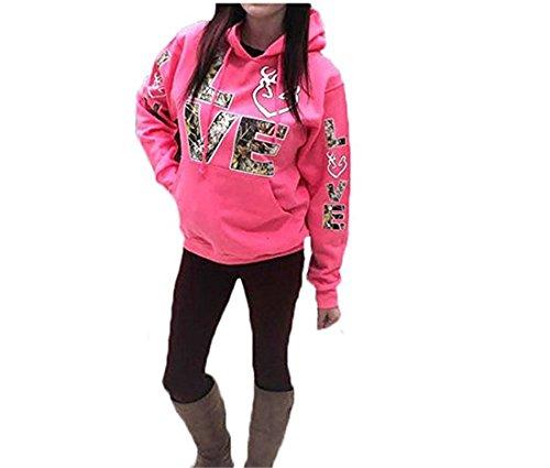 FCYOSO Women Long Sleeve Love Printed Kangaroo Pocket Hoodie Sweatshirt Pink (US,XL/Asia,2XL) (Brand Hoodies Women)