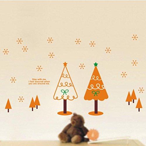 Tree Gift Sticker (Iusun Removable Happy Christmas Tree Xmas Gift Wall Sticker Home Decor(Orange))