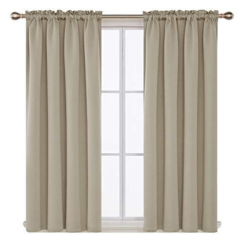 Deconovo Beige Blackout Curtains Rod Pocket Curtain