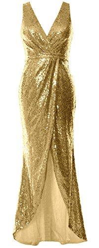 Wedding Women V Formal Gold Dress Macloth Evening Long Sequin Gown Light Bridesmaid Neck na60ggBpU