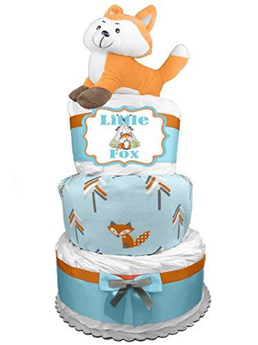 - Fox 3-Tier Diaper Cake - Baby Shower Gift for a Boy - Newborn Gift Idea
