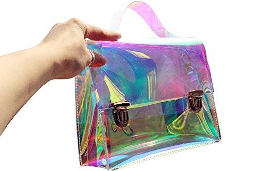 para transparente U cruzados Flada rosa 278 mujer Bolso mediano transparente HqEwX7fx