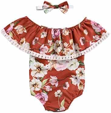 53cc90fb8 LiLiMeng Newborn Kids Baby Girls Clothes Ruffles Floral Print Jumpsuit  Romper Playsuit Headband Outfits Summer