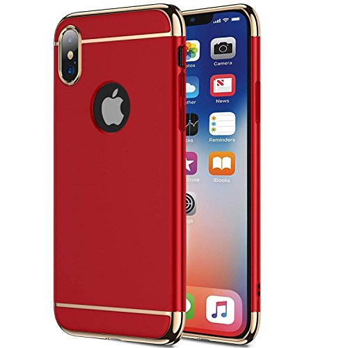 wantflyer iPhone X/10 Case,3 in 1 Ultra Thin and Slim Hard Case Coated Non Slip Matte Surface with Electroplate Frame for Apple iPhone X(2017)(5.8)_Red