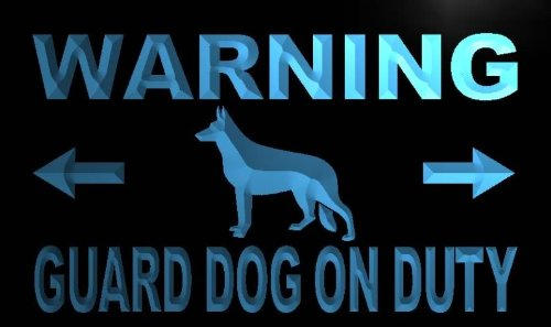 ADV PRO m758-b Warning Guard Dog on Duty Neon Light Sign by AdvPro Sign