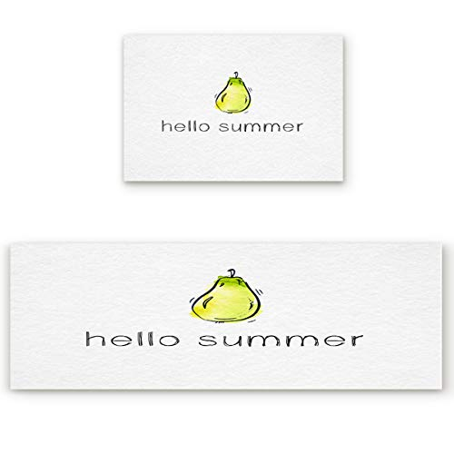 Our Wings Non-Slip/Skid Soft Kitchen Mat,Absorbent Indoor Carpet Doormat Runner Bathroom Rug 2 Piece Sets,Hello Summer Hand Painted Pear (19.7x31.5in+19.7x47.2in) (Painted Pear Hand)