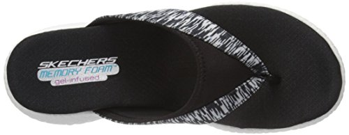 Skechers Women's Burst-Jubilation Flat Sandal Black/White ocT5GxgVv