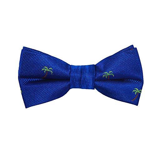 SummerTies Palm Tree Kids Bow Tie - Blue, Woven Silk, Pre-Tied Kids Bow Tie (Tree Bow Tie)