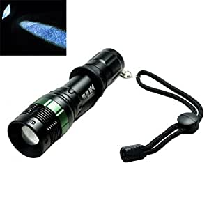 High Quality 3W LED Bright Adjustable Hand Torch Flashlight with Clip - Black