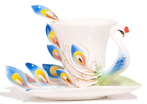 Vanki Hand Crafted Porcelain Enamel Graceful Peacock Tea Coffee Cup Set with Saucer and Spoon, Blue