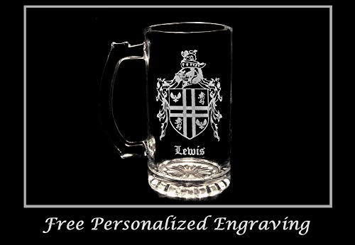 - Lewis English Family Coat of Arms 16oz Beer Stein: Free Shipping & Personalized Engraving