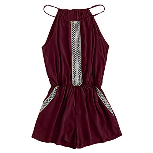 Nihewoo Womens Sleeveless Beach Short Pants Trousers Summer Halter Neck Shorts Elastic Waist Solid Color Jumpsuit Rompers Wine