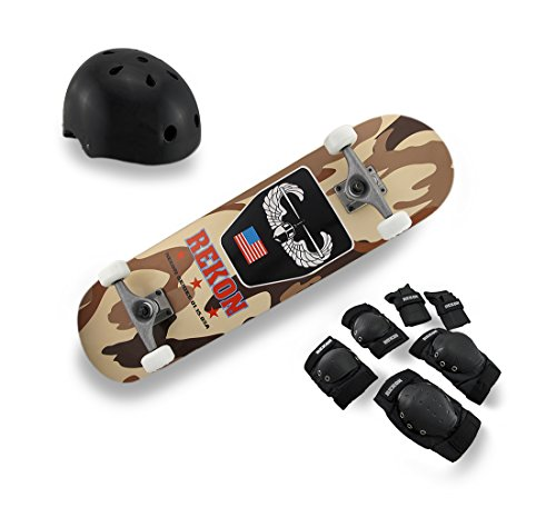 Wood Standard Skateboards Complete Rekon Skate Kit Maple Skateboard Desert Camouflage Graphics 30.75 X 3 X 7.75 Inches Multicolored