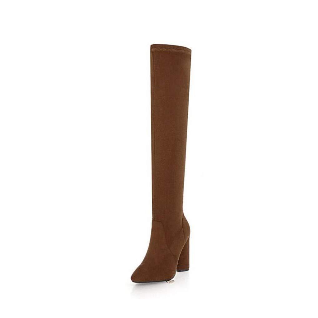 HAOLIEQUAN Plus Größe 33-46 Frauen High Heels Heels Heels Stiefel Overknee Stiefel Frau Spitz Schuhe Fashion Lace Up Schuhe ce0bbf