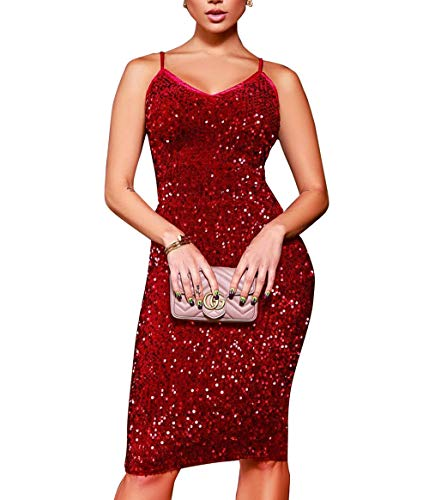 Salimdy Sequined Club Dress Sexy V Neck Sleeveless Bodycon Dress Sling Evening Party Club Sequined Dress Best Red M