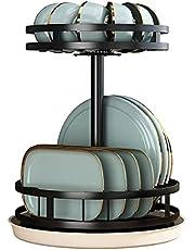 360 ° Rotatie Afdruiprek, Klein Afdruiprek Met Lade Compact Roestvrijstalen 2-laags Afdruiprek Voor Aanrechtkast, Grote Capaciteit, Sterk En Stevig, Zwart