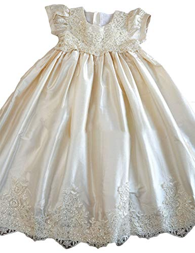 Faiokaver Christening Gown for Baby Girl Lace Infant White Long Baptism Dresses with -