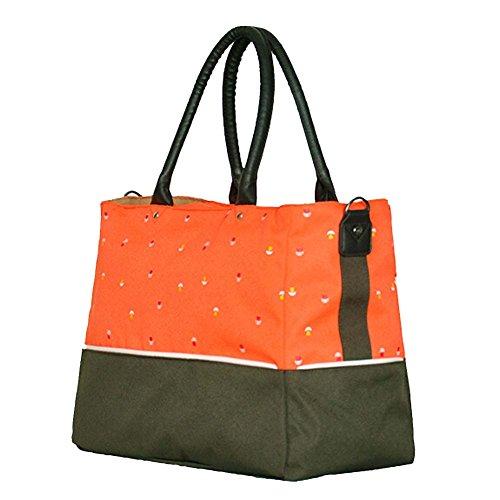 Win8Fong del bebé multifuncional gran capacidad pañales pañales Messenger bolsa de hombro rosa y negro Talla:40cm x 29cm x 18cm Orange & Green