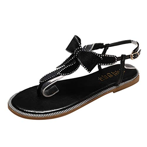 YKARITIANNA Women's Summer Casual Rhinestones Bow Thongs Fashion Beach Slippers Sandals Black