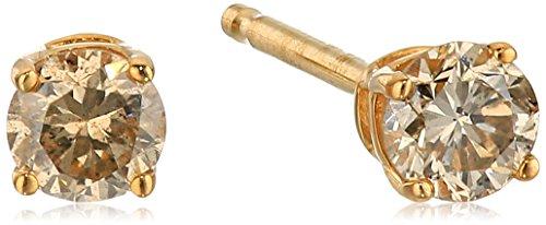 Champagne Diamond 14k Yellow Gold Stud Earrings (1/4cttw, I2-I3 Clarity)
