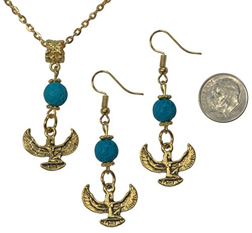 (Set, Egyptian Isis Antique Gold Colored Charm with Turquoise Lava Pendant and Earring + FREE CHAIN+FREE GIFT BAG)