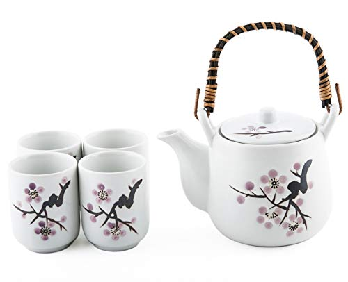 (Japanese White Snow Cherry Blossom Sakura Tea Set Ceramic Teapot with Rattan Handle and 4 Tea Cups)