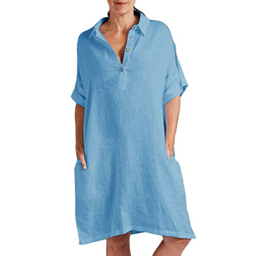 AHAYAKU Women Casual Solid Short Sleeve Dress V Neck Linen Loose Dress with Pocket Blue