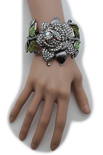 Pewter Slave Bracelet - TFJ Women Fashion Jewelry Hand Chain Wrist Bracelet Slave Ring Rhinestones Metal Flower Gray