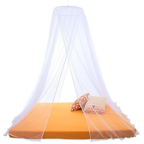 Moskitonetz Sumkito rund oder eckig | Insektenschutz für Einzel- oder Doppelbetten | weiß rund XXL Doppelbett 2 Eingänge | CelinaSun 1000471