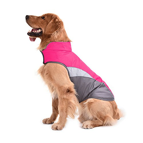SILD Pet Clothes Dog Winter Warm Jacket Dog Cold Weather Coat Dog Autumn Windproof Night Reflective Fleece Vest (M, Red) by SILD (Image #8)