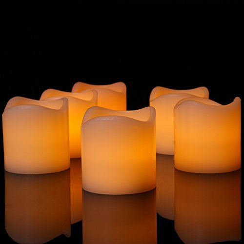 Set of 6 Flameless LED Candles Yellow Bright Flickering Light Pillar Flameless Artificial tealight for Wedding,Votive, Yoga and Decoration (Battery include)